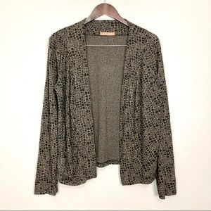 Cut Loose Lagenlook Cardigan Open Front Knit Print